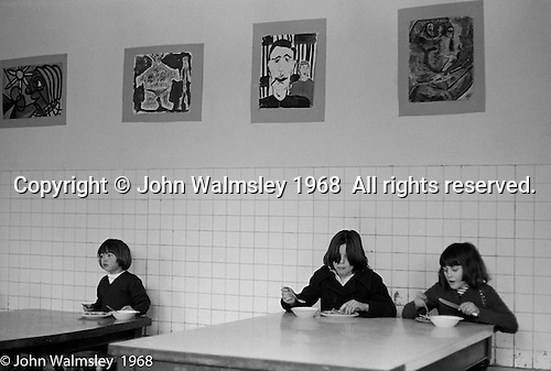 In the canteen at lunchtime, Summerhill school, Leiston, Suffolk, UK. 1968.
