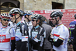 Michal Kwiatkowski (POL), Rigoberto Uran Uran (COL) and Mark Cavendish (GBR) Omega Pharma-Quick Step arrive at sign on in San Gimignano before the start of the 2014 Strade Bianche race over the white dusty gravel roads of Tuscany, Italy. 8th March 2014.<br /> Picture: Eoin Clarke www.newsfile.ie