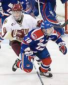 Patrick Wey (BC - 6), David Vallorani (Lowell - 10) - The Boston College Eagles defeated the visiting University of Massachusetts-Lowell River Hawks 5-3 (EN) on Saturday, January 22, 2011, at Conte Forum in Chestnut Hill, Massachusetts.