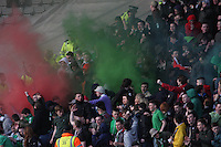 Celtic fans let off flares in the Celtic v Rangers City of Glasgow Cup Final match played at Firhill Stadium, Glasgow on 29.4.13,  organised by the Glasgow Football Association and sponsored by City Refrigeration Holdings Ltd.