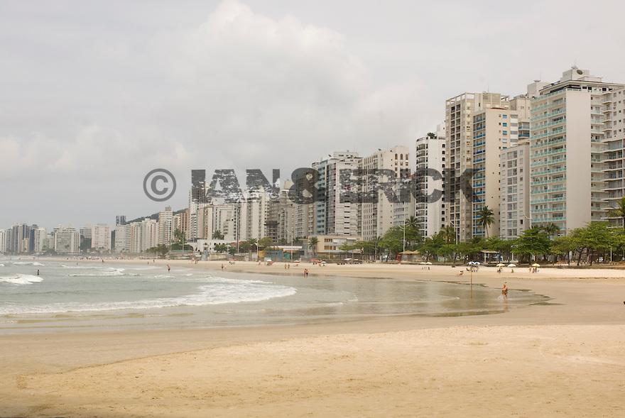 Guaruja's main beach in Brazil.