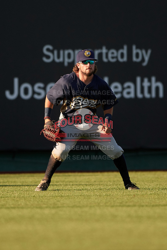 Burlington Bees left fielder Troy Montgomery (4) during a game against the South Bend Cubs on July 22, 2016 at Four Winds Field in South Bend, Indiana.  South Bend defeated Burlington 4-3.  (Mike Janes/Four Seam Images)