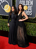 Ashley Judd &amp; Salma Hayek at the 75th Annual Golden Globe Awards at the Beverly Hilton Hotel, Beverly Hills, USA 07 Jan. 2018<br /> Picture: Paul Smith/Featureflash/SilverHub 0208 004 5359 sales@silverhubmedia.com