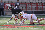 College Park, MD - February 18, 2017: High Point Panthers Jack Marshall (41) wins the faceoff during game between High Point and Maryland at  Capital One Field at Maryland Stadium in College Park, MD.  (Photo by Elliott Brown/Media Images International)