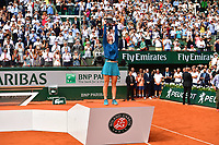 Simona Halep of Romania lifts the Suzanne Lenglen Cup after winning the final during Day 14 of the French Open 2018 on June 9, 2018 in Paris, France. (Photo by Dave Winter/Icon Sport)