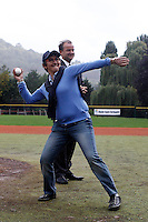 17 July 2011: Valerie Fourneyron, mayor of Rouen throws the first pitch next to Xavier Rolland prior to the 2011Challenge de France final match won 6-4 by the Rouen Huskies over the Savigny Lions, at Stade Pierre Rolland, in Rouen, France.