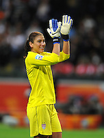 Hope Solo of team USA celebrates during the FIFA Women's World Cup Final USA against Japan at the FIFA Stadium in Frankfurt, Germany on July 17th, 2011.