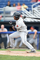Connecticut Tigers second baseman Domingo Leyba (7) at bat during the first game of a doubleheader against the Batavia Muckdogs on July 20, 2014 at Dwyer Stadium in Batavia, New York.  Connecticut defeated Batavia 5-3.  (Mike Janes/Four Seam Images)