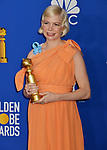 Michelle Williams 121 poses in the press room with awards at the 77th Annual Golden Globe Awards at The Beverly Hilton Hotel on January 05, 2020 in Beverly Hills, California.