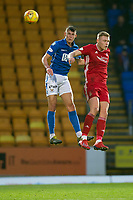 24th November 2019; McDairmid Park, Perth, Perth and Kinross, Scotland; Scottish Premiership Football, St Johnstone versus Aberdeen; Wallace Duffy of St Johnstone competes in the air with Sam Cosgrove of Aberdeen  - Editorial Use