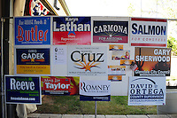 Tempe, Arizona. October 13, 2012 - 20CaptionCampaign materials like these posters of various Arizona candidates were available at a traditional political rally held in Tempe Arizona. The non-partisan rally promoted political participation in the upcoming November 6 election. Hundreds of Arizona registered voters participated in a political rally where candidates for the US Senate, House of Representatives, state legislature, Maricopa County and other public offices pitched for votes. Photo by Eduardo Barraza © 2012