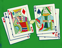 King and queen shaking hands from two hands of playing cards