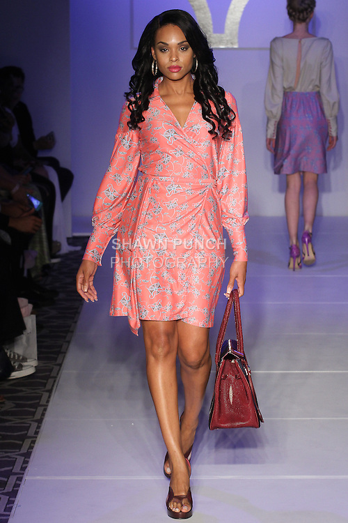 Model walks runway in an outfit from the AMIAT Spring Summer 2016 collection at Fashion Gallery NYFW Designer's Showcase Spring Summer 2016 show, during New York Fashion Week.