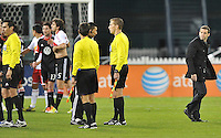 D.C. United head coach Ben Olsen looking at the referee's at the end of the match after some questionable calls. The New York Red Bulls tied D.C. United 1-1 in the first leg of the Eastern Conference semifinals at RFK Stadium, Saturday November 3, 2012.