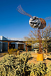 Mobile wind sculpture art on patio at Joshua Tree National Park Visitor Center, California
