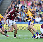 Aidan Harte of Galway in action against Jack Browne of Clare during their All-Ireland semi-final at Croke Park. Photograph by John Kelly.