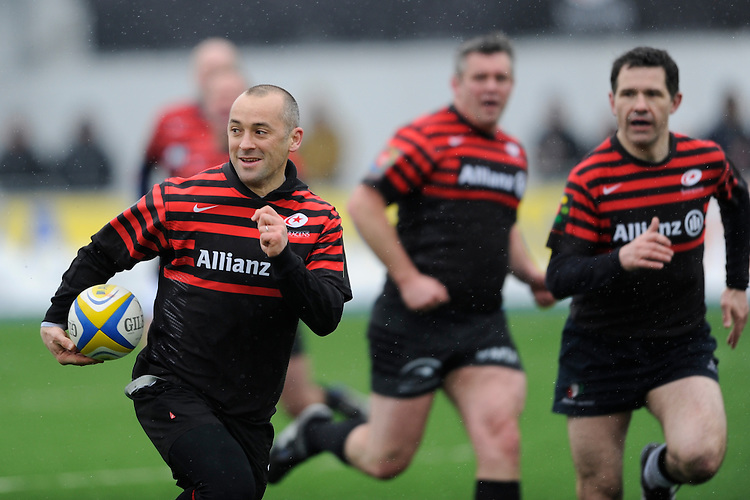 20130324 Copyright onEdition 2013©.Free for editorial use image, please credit: onEdition..Thomas Castaignede, former Saracens and French international, plays in a warm up match before the Premiership Rugby match between Saracens and Harlequins at Allianz Park on Sunday 24th March 2013 (Photo by Rob Munro)..For press contacts contact: Sam Feasey at brandRapport on M: +44 (0)7717 757114 E: SFeasey@brand-rapport.com..If you require a higher resolution image or you have any other onEdition photographic enquiries, please contact onEdition on 0845 900 2 900 or email info@onEdition.com.This image is copyright onEdition 2013©..This image has been supplied by onEdition and must be credited onEdition. The author is asserting his full Moral rights in relation to the publication of this image. Rights for onward transmission of any image or file is not granted or implied. Changing or deleting Copyright information is illegal as specified in the Copyright, Design and Patents Act 1988. If you are in any way unsure of your right to publish this image please contact onEdition on 0845 900 2 900 or email info@onEdition.com