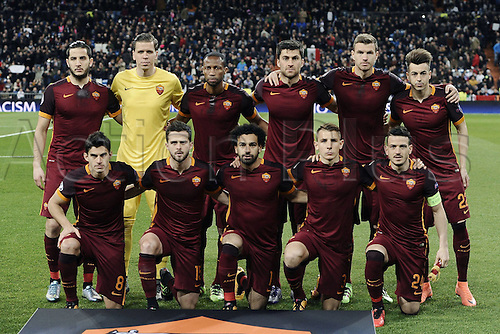 08.03.2016 Estadio Santiago Bernabeu, Madrid, Spain. UEFA Champions League Real Madrid CF versus AS Roma. Last 16 second leg match in Madrid.  Roma team line-up