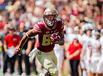 Florida State wide receiver Tre'Shaun Harrison runs after a reception vs Northern Illinois University on September 22, 2018 in Tallahassee, Florida.  The Seminoles defeated the Huskies 37-19.