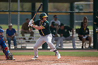 Oakland Athletics first baseman Mikey White (23) at bat during a Minor League Spring Training game against the Chicago Cubs at Sloan Park on March 13, 2018 in Mesa, Arizona. (Zachary Lucy/Four Seam Images)