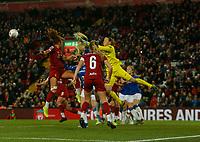 17th November 2019; Anfield, Liverpool, Merseyside, England; Womens Super League Footballl, Liverpool Women versus Everton; Liverpool FC Women keeper Anke Preuss clears under pressure from an Everton corner