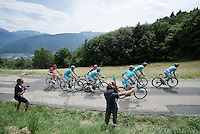 Almost the entire Astana team breaks away from the peloton up the very first climb straight from the start, the Collet de Tamié (8.1km @7%) & try to force a gap for Team SKY to get back<br /> <br /> Stage 19:  Albertville › Saint-Gervais /Mont Blanc (146km)<br /> 103rd Tour de France 2016