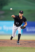 Kannapolis Intimidators relief pitcher Tyler Johnson (22) delivers a pitch to the plate against the Greensboro Grasshoppers at Kannapolis Intimidators Stadium on August 13, 2017 in Kannapolis, North Carolina.  The Grasshoppers defeated the Intimidators 3-0.  (Brian Westerholt/Four Seam Images)