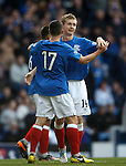 Robbie Crawford celebrates his goal with Fraser Aird