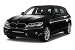 2017 BMW 1-Series Sport 5 Door Hatchback angular front stock photos of front three quarter view