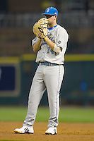 First baseman Casey Haerther #14 of the UCLA Bruins on defense versus the Rice Owls in the 2009 Houston College Classic at Minute Maid Park February 27, 2009 in Houston, TX.  The Owls defeated the Bruins 5-4 in 10 innings. (Photo by Brian Westerholt / Four Seam Images)
