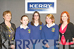 Q&A: Fodhla and Louise Ni Chonchuir with Aine Ni Mhairtin, students from Pobalscoil Chorca Dhuibhne, who took part in the annual senior science quiz which was sponsored by Kerry Group on Thursday evening at the IT South campus. Pictured l-r: Phil Ui Chathain (teacher), Fodhla and Louise Ni Chonchuir, Aine Ni Mhairtin and Maria Ronan (Kerry Group).   Copyright Kerry's Eye 2008