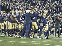 Annapolis, MD - November 11, 2017: Navy Midshipmen celebrates during the game between SMU and Navy at  Navy-Marine Corps Memorial Stadium in Annapolis, MD.   (Photo by Elliott Brown/Media Images International)
