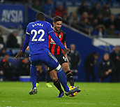 2nd February 2019, Cardiff City Stadium, Cardiff, Wales; EPL Premier League football, Cardiff City versus AFC Bournemouth; Sol Bamba of Cardiff City closes in to tackle Andrew Surman of Bournemouth