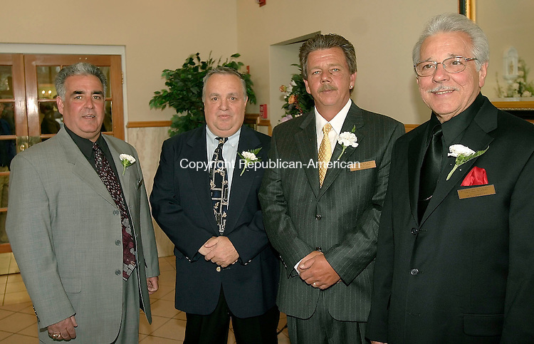 WATERTOWN, CT - 29 APRIL 2005 - 042905JS06--Water-Oak Gold Circle president Richie Avoletta, left, with Gold Circle 2005 inductees, from left,  Bob Palmer, Chester Palombo and Bill Jannetty during the awards banquet Friday at the Grand Oaks Villa in Watertown.<br /> --Jim Shannon Photo --Bob Palmer; Chester Palombo; Bill Jannetty; Water-Oak Gold Circle; Richie Avoletta Watertown, Grand Oaks Villa are CQ
