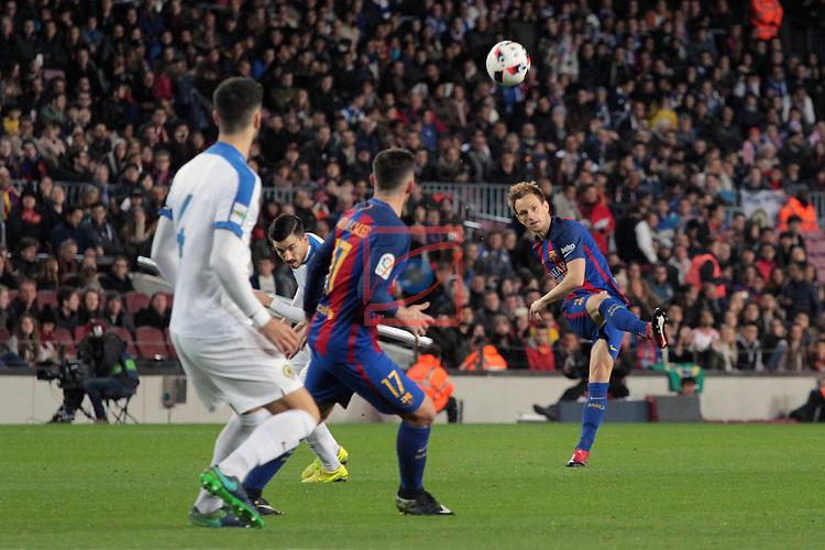 Copa del Rey 2016/2017. 1/16 Final-Vuelta.<br /> FC Barcelona vs Hercules CF: 7-0.<br /> Fernando, Paco Alcacer &amp; Ivan Rakitic.
