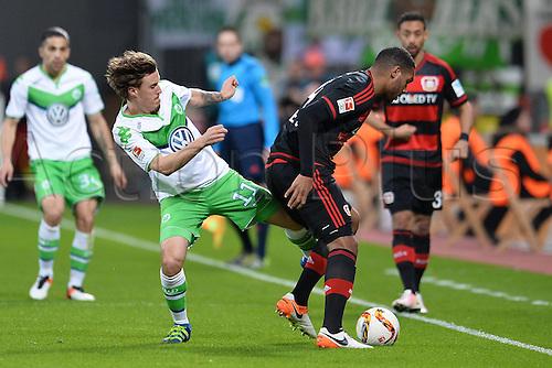 01.04.2016. Leverkusen, Germay. Bundesliga football. Bayer Leverkusen versus VFL Wolfsburg in the BayArena in Leverkusen.  Max Kruse ( Wolfsburg ) and Jonathan Tah ( Leverkusen )