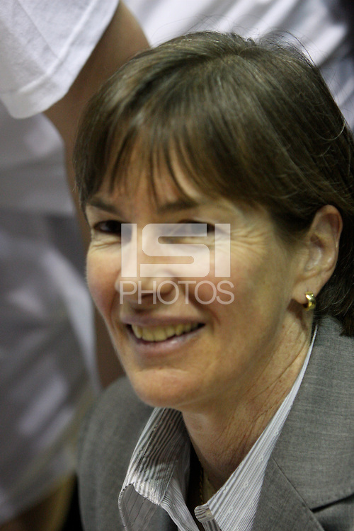 BERKELEY, CA - MARCH 30: Head coach Tara Vanderveer enjoys the celebration following Stanford's 74-53 win against the Iowa State Cyclones on March 30, 2009 at Haas Pavilion in Berkeley, California.