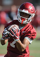NWA Democrat-Gazette/ANDY SHUPE<br /> Arkansas receiver Jonathan Nance makes a catch Tuesday, March 28, 2017, during spring practice at the UA practice facility in Fayetteville.