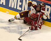 Neal Pionk (UMD - 4), Nathan Krusko (Harvard - 13) - The University of Minnesota Duluth Bulldogs defeated the Harvard University Crimson 2-1 in their Frozen Four semi-final on April 6, 2017, at the United Center in Chicago, Illinois.