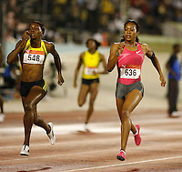 Novlene Williams(548) ran 50.99sec. to beat Sanya Richards(636) 51.12sec. in the 400m at the Jamaica International Invitational Meet held at the National Stadium, Kingston, Jamaica on Saturday, May 2nd. 2009. Photo by Errol Anderson,The Sporting Image.net