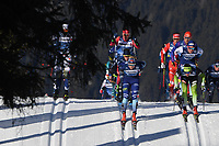 1st January 2020, Toblach, South Tyrol , Italy;  Skiers compete during mens cross country skiing 15 km classic style pursuit at the FIS Tour de Ski event in Toblach, Italy on January 1, 2020.