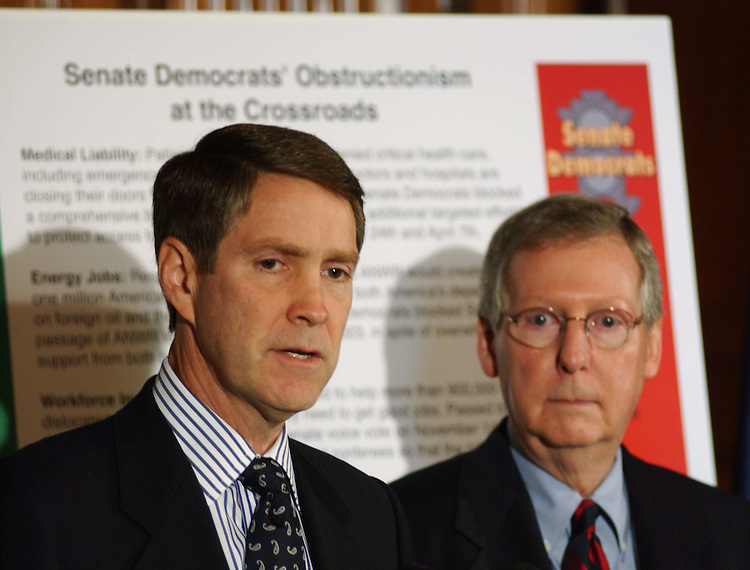 10/08/04.SENATE GOP ACCOMPLISHMENTS IN 108TH--Senate Majority Leader Bill Frist, R-Tenn., and Sen. Mitch McConnell, R-Ky., during a news conference on what Senate Republicans have done in the 108th Congress..CONGRESSIONAL QUARTERLY PHOTO BY SCOTT J. FERRELL