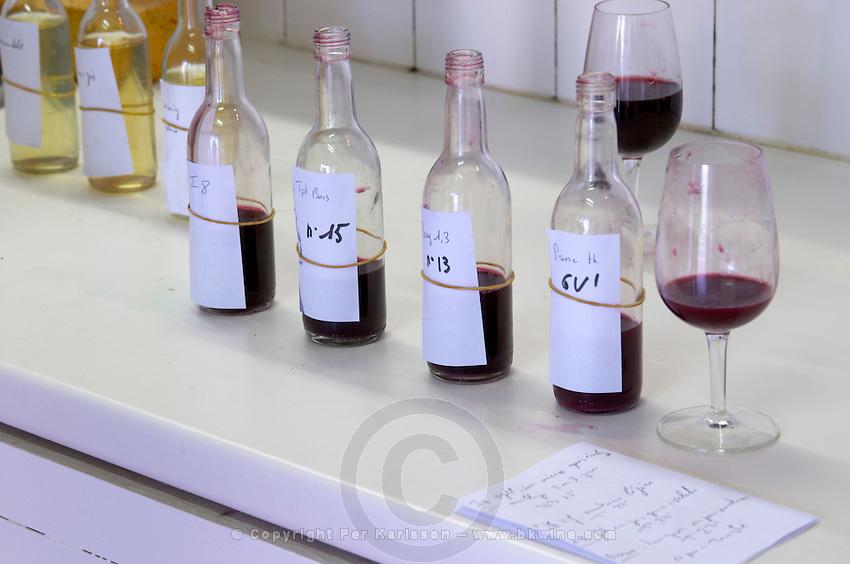 bottles with samples chateau lestrille bordeaux france