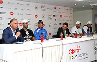 BOGOTA -COLOMBIA, 10-07-2013.  Conferencia de prensa que da apertura al torneo de tenis Claro Open Colombia ATP World Tour 250. De izquierda a derecha : Manuel Mate , presidente IMLA de Colombia Alejandro Falla Santiago  Giraldo , Diego Hernández de Alba ,Director de Mercadeo y Comunicaciones de Claro ,Juan Sebastián Cabal , Robert Farah .Hotel Radisson./ Press conference that gives tennis tournament opening Colombia Clear Open ATP World Tour 250. From left to right: Manuel Mate, president of Colombia's Alejandro Falla IMLA Santiago Giraldo, Diego Hernández de Alba, Director of Marketing and Communications of course, Juan Sebastian Cabal, Robert Farah. Radisson Hotel. <br />