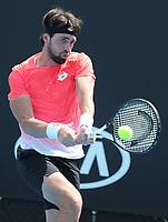 16th January 2019, Melbourne Park, Melbourne, Australia; Australian Open Tennis, day 3; Nikoloz Basilashvili of Georgia in action  against Stefano Travaglio of Italy