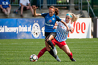 Kansas City, MO - Saturday September 9, 2017: Shea Groom, Julie Ertz during a regular season National Women's Soccer League (NWSL) match between FC Kansas City and the Chicago Red Stars at Children's Mercy Victory Field.