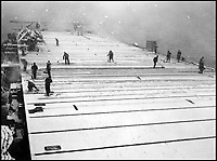 BNPS.co.uk (01202 558833)Pic: CharterhouseAuctioneers/BNPS<br /> <br /> Clearing the snow for landing...<br /> <br /> A remarkable wartime photo album that highlights the perilous nature of landing a fighter plane on an aircraft carrier in heavy seas has been unearthed.<br /> <br /> The black and white snaps show several Royal Naval aircraft coming a cropper while attempting to land on board HMS Fencer often in heavy seas.<br /> <br /> One set of images depict a Swordfish biplane crashing into the sea a few hundred yards off the aircraft carrier HMS Fencer.<br /> <br /> Other photos show a Supermarine Seafire about the crash into the superstructure.<br /> <br /> The album will be sold by Charterhouse Auctioneers in Sherborne, Dorset.
