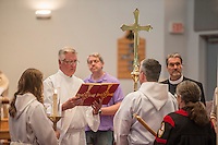NWA Democrat-Gazette/ANTHONY REYES &bull; @NWATONYR<br /> Deacon John Reese, with All Saints Episcopal Church, reads the gospel reading Thursday, May 14, 2015 during the Ascension Day service at St. Thomas Episcopal in Springdale. St. Thomas held a joint worship service with other area churches in Fayetteville.