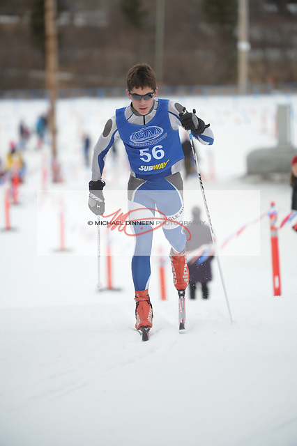 Eagle River's Torsten Renner charges up a hill to a 46th-place finish in Friday's classical race the during the state championships at Kincaid Park.  Photo for the Star by Michael Dinneen
