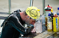 07 AUG 2010 - LICHFIELD, GBR - Simon Pearson takes a break during the Triple Iron race swim at the Enduroman Ultra Triathlon Championships (PHOTO (C) NIGEL FARROW)